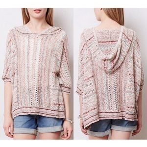 Anthropologie Moth Pointelle Knit Poncho Sweater